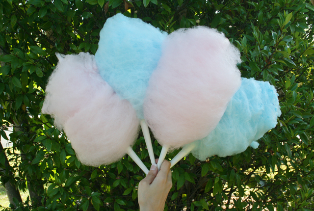Pink and blue fairy floss on a stick