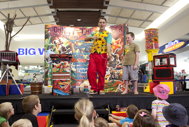 Johnny the Jester performing a public show for kids