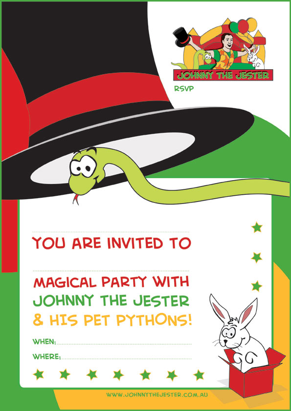 Snake wearing top hat coloured invitation