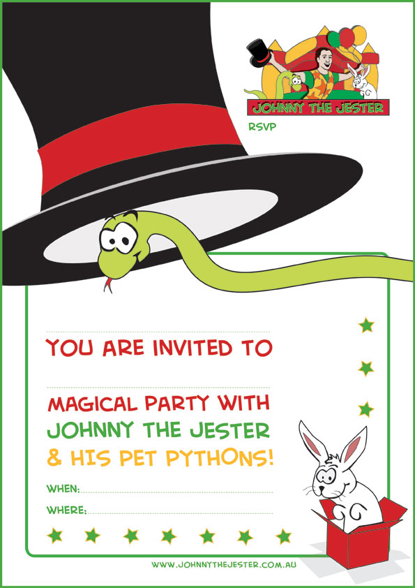 Snake wearing top hat plain invitation